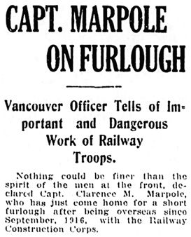 Vancouver Daily World, June 10, 1918, page 14, columns 6-7 [first part of article].