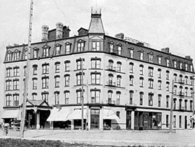 Clarendon Hotel (311 Portage Avenue, Winnipeg), about 1903; Manitoba Historical Society; http://www.mhs.mb.ca/docs/sites/clarendonhotel.shtml.