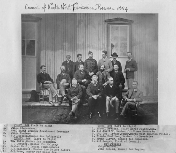 Council of North West Territories, Regina, 1884, William White, middle row, far left; Frank Oliver And Infantile Edmonton, by Rob Houle, 2015; https://citymuseumedmonton.ca/2015/11/02/frank-oliver/.