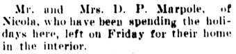 Vancouver Daily World, January 4, 1908, page 15, column 2.