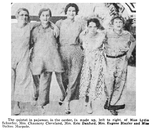 Honolulu Star-Bulletin, April 5, 1930, page 33, columns 2-4 and 5-7 [Mary Cleveland (née Marpole) is second from left; Dalton Marpole is on far right].