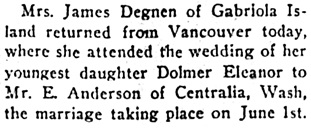 Nanaimo Daily News, June 4, 1928, page 4, column 4.