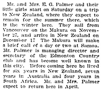 Edmonton Journal, November 19, 1912, page 16, column 4.