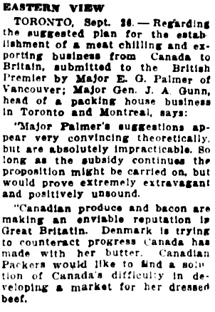 Vancouver Sun, September 26, 1925, page 2, column 5.