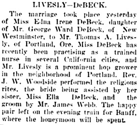 Vancouver Daily World, September 10, 1908, page 12, column 5.