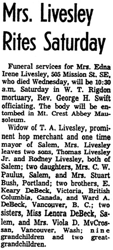 Statesman Journal (Salem, Oregon), July 1, 1960, page 2, column 3.