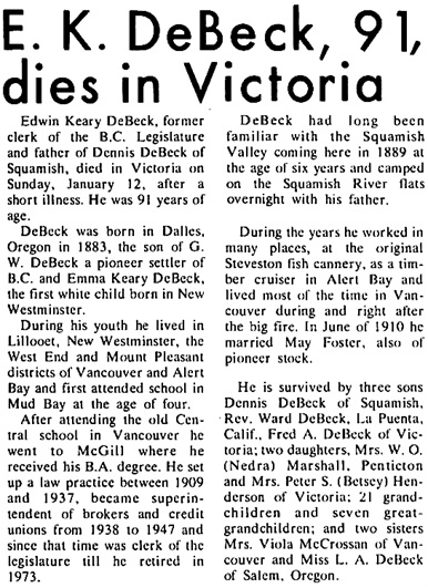 Squamish Times (Squamish, British Columbia, Canada), January 16, 1975, page 11, columns 4-5.