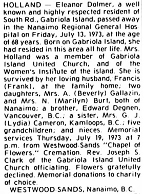 Nanaimo Daily News, July 16, 1973, page 12, column 5.
