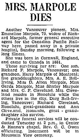 Vancouver Sun, November 27, 1933, page 4, column 7; https://news.google.com/newspapers?id=Ky9lAAAAIBAJ&sjid=2ogNAAAAIBAJ&pg=4768%2C3158753.