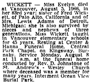 Vancouver Sun, August 6, 1966, page 30, column 4.