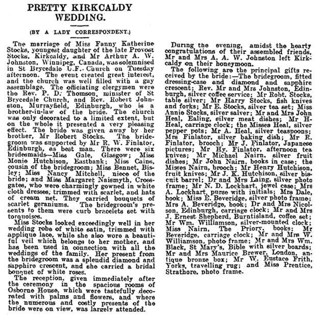 Dundee Courier (Dundee, Scotland), March 17, 1904, page 6, column 2.