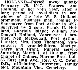 Vancouver Sun, February 27, 1947, page 15, column 2.