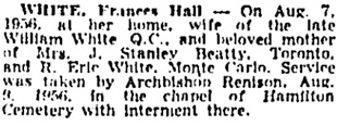 Toronto Globe and Mail, August 11, 1956, page 27, column 4.