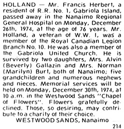 The Times (Nanaimo), December 28, 1974, page 14, column 2.