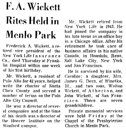 The San Francisco Examiner, October 18, 1970, page 49, column 2.