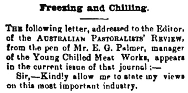"""Freezing and Chilling,"" The Burrangong Argus (New South Wales), May 26, 1894, page 4, column 1 [first portion of article]; https://trove.nla.gov.au/newspaper/article/247681219."