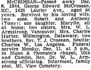 Vancouver Sun, December 9, 1944, page 21, column 2.