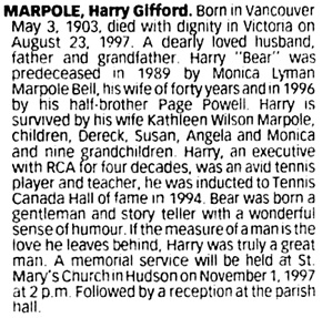 The Gazette (Montreal), October 25, 1997, page 94, column 4.