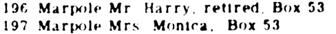Ancestry.com. Canada, Voters Lists, 1935-1980 [database on-line]. Provo, UT, USA: Ancestry.com Operations, Inc., 2012. Name: Mr. Harry Marpole; Gender: Male; Occupation: Retired; Year: 1972; Location: Saint-Jean, Québec, Canada; Electoral District: Vaudreuil.