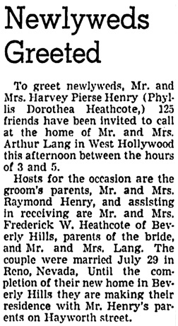 The Los Angeles Times, August 14, 1938, part 4, page 7, column 2.