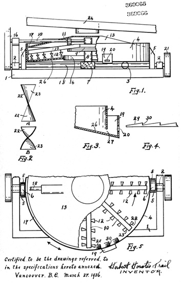 Herbert Horatio Trail, Canadian Patent Document 369066; Precious Metal Concentrating Apparatus; 1936; http://brevets-patents.ic.gc.ca/opic-cipo/cpd/eng/patent/369066/summary.html.