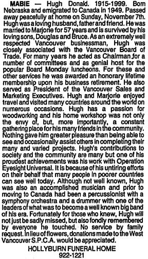 Vancouver Sun, November 16, 1999, page 72, column 3.