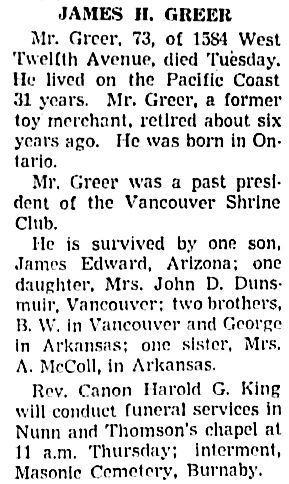 Vancouver Sun, July 12, 1939, page 18, column 5.