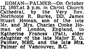 Vancouver Sun, October 15, 1957, page 40, column 2.