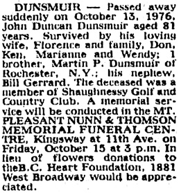Vancouver Sun, October 15, 1976, page 51, image 53, column 4.