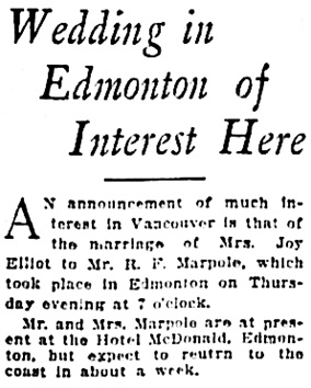 Vancouver Sun, October 22, 1927, page 11, column 3.