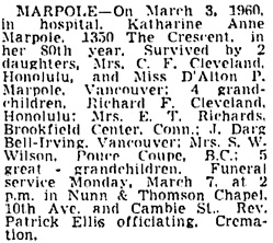 Vancouver Sun, March 4, 1960, page 31, column 4.