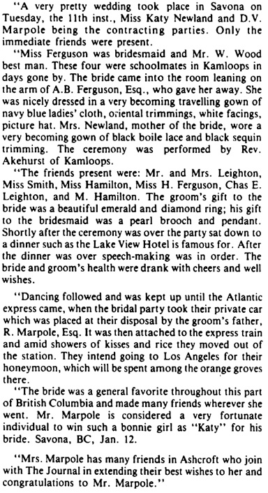 "Ashcroft Journal, January 16, 1904, reprinted in ""Journal files help family locate roots,"" Ashcroft Journal, August 16, 1983, pages 1-2."
