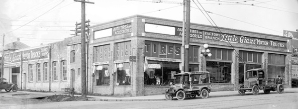 Little Giant Motor Trucks, building and trucks, about 1918, Vancouver City Archives, CVA 99-5418; http://searcharchives.vancouver.ca/little-giant-motor-trucks-building-and-trucks.