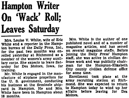 Daily Press (Newport News, Virginia), August 20, 1942, page 11, column 3.