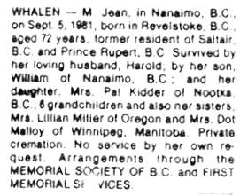 Nanaimo Daily News, September 8, 1981, page 20, column 6.