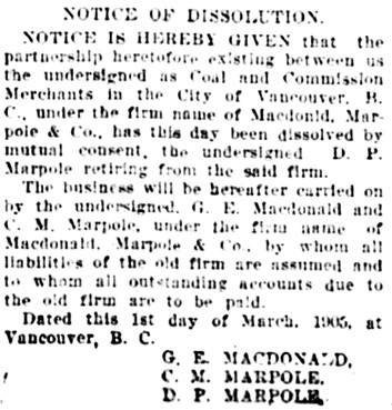 Vancouver Daily World, March 8, 1905, page 6, column 6.