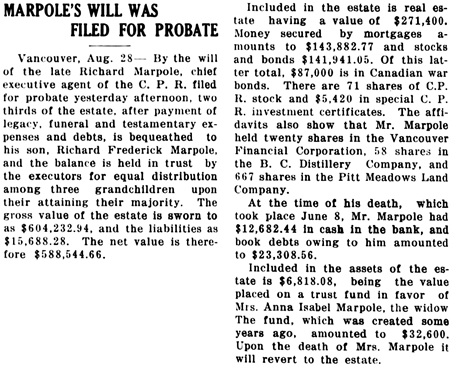 Nanaimo Daily News, August 28, 1920, page 1, column 3.