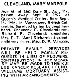 Honolulu Star-Bulletin, September 11, 1972, page 48, column 3.
