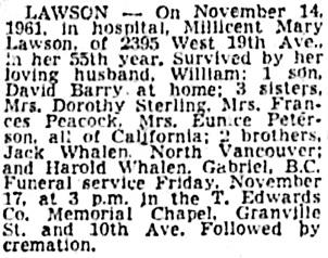 Vancouver Sun, November 15, 1961, page 53, column 3.