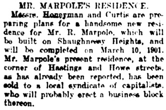 Vancouver Daily World, April 28, 1909, page 19, column 4. [Note: completion date should be March 10, 1910.]