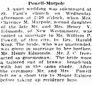 Vancouver Daily World, September 5, 1918, page 6, column 2.
