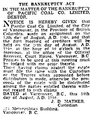 Vancouver Sun, August 20, 1940, page 17, column 2.