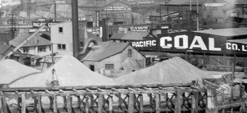 Pacific Coal Company Limited, 1932, detail from Granville Island showing Langley's roof; Vancouver City Archives, CVA 20-67; https://searcharchives.vancouver.ca/granville-island-showing-langleys-roof.
