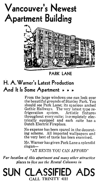 Vancouver Sun, October 3, 1931, page 27, columns 6-8.