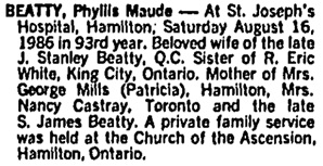 Toronto Globe and Mail, August 20, 1986, page C8, column 2.