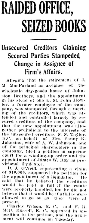 Vancouver Daily World, January 20, 1919, page 3, column 5.