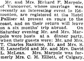Calgary Herald, October 24, 1927, page 14, columns 3-4.