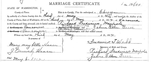"""Washington, County Marriages, 1855-2008,"" database with images, FamilySearch (https://familysearch.org/ark:/61903/1:1:QKNB-QBW2 : 28 September 2017), Richard Frederick Marpole and Zelma Ellen Greer, 03 May 1912, Pierce, Washington, United States, State Archives, Olympia; FamilySearch digital folder 004223823."