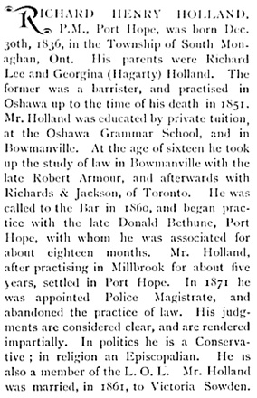 Richard Henry Holland, The Canadian Album : Men of Canada, volume 5; Toronto; Bradley-Garretson Company, 1896; page 339; https://archive.org/stream/canadianalbummen05cochuoft#page/339/mode/1up.