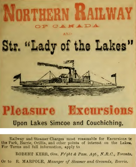 Excursion Season, 1878, Northern Railway of Canada and Great Rail and Lake Connections; printed by Bell and Company, Toronto, Ontario, page 29, [selected portions of page]; https://qspace.library.queensu.ca/bitstream/handle/1974/10031/excursionseason100nort.pdf.
